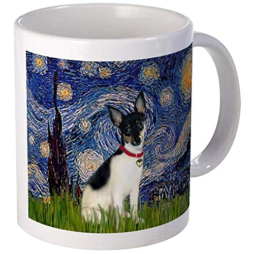 Starry Night & Rat Terrier Mug - Ceramic 11oz Coffee/Tea Cup Gift Stocking Stuffer