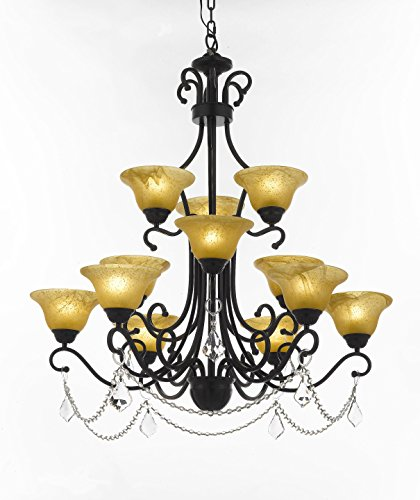 Wrought Iron Crystal Chandelier Large Foyer Entryway Lighting Country French 3 Tiers 12 Lights, ht39 X wd36 Ceiling ()