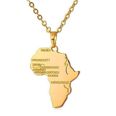 Hiphop Africa Necklace Gift Silver Gold Color Pendant   Chain Wholesale  African Map Men  d040ba9c7
