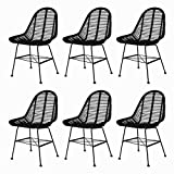 """Dining Chairs Set of 6 Natural Rattan Indoor&Outdoor Dining Chairs19.3"""" x 22"""" x 33"""" by BLUECC (Black)"""