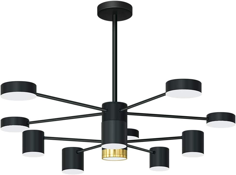 Healer 30.7 inch LED Chandelier Pendant Lighting Fixture Flush Mount Black Finish, Modern Geometric Linear Spotlight Hanging Ceiling Light Indoor Lamp Fix for Living/Dining Room Office Study