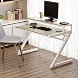 Computer Desk, Tribesigns 55'' Z-Shaped Office Desk with Hutch, Modern Style Workstation Writing Desk For Home or Office (55in Oak with hutch with hutch)