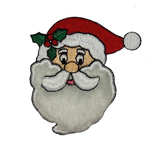 ID #8157A Fuzzy Beard Santa Face Christmas Embroidered Iron On Applique (Applique Santa)