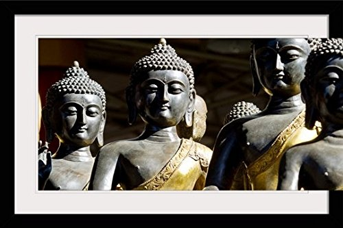 GreatBIGCanvas ''China, Beijing,Thai Buddha Sculptures'' by Ray Laskowitz Photographic Print with black Frame, 36'' X 24'''' by greatBIGcanvas