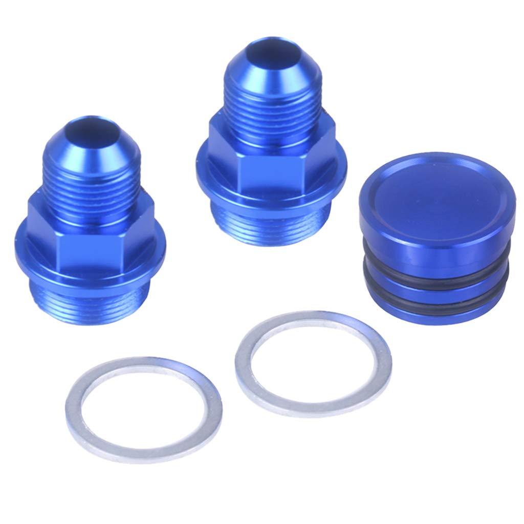 B Blesiya Blue Rear Block Breather Fittings and Plug for B16 B18C Catch CAN M28 10AN