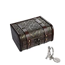 SiCoHome Treasure Box 5.9inch Copper Small Trunk Box Vintage Jewelry Storage Treasure Cards Collection Wooden Gift Box Decorative Box,for Gifts And House Decoration