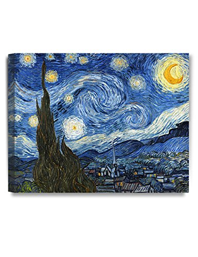 DECORARTS Starry Night, Vincent Van Gogh Art Reproduction. Giclee Canvas Prints Wall Art for Home Decor. 20x16 Night Canvas Art