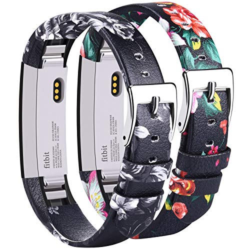 Vancle Leather Bands Compatible with Fitbit Alta/Fitbit Alta HR for Women Men, Adjustable Replacement Accessories Strap with Buckle for Fitbit Alta and Fitbit Alta HR (#.Floral Gray+Floral Red)