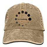I'm Thinking Round Fade Unisex Baseball Cap Cotton Denim Adjustable Hunting Cap for Men Or Women
