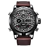 Axiba Luxury Dual Movt Men's Leather Quarz Analog Digital LED Sport Wrist Watch (C)