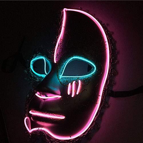 TECHLINK Glowing Masks LED Cold Light Mask Evil Face Mask Party Mask Street Dance Hand-Painted Cosplay Costume Decoration Easter Grimace Festival ()
