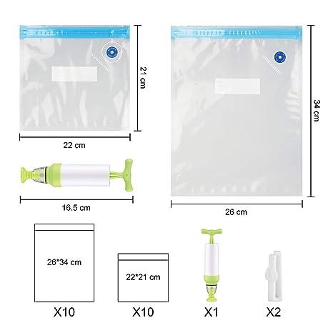 Bolsas selladas al vacío reutilizables Sous Vide con bomba de mano para almacenar alimentos sin 20 BPA y bolsas de vacío con cierre aprobado por la ...