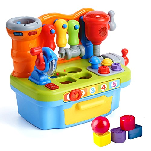 (Woby Multifunctional Musical Learning Tool Workbench Toy Set for Kids with Shape Sorter Tools)