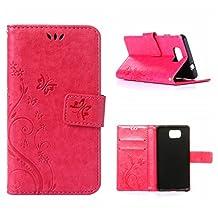 MOONCASE Galaxy Alpha Wallet Case Flower Pattern Premium PU Leather Case for Samsung Galaxy Alpha G850 Bookstyle Soft TPU [Shock Absorbent] Flip Bracket Cover Hotpink