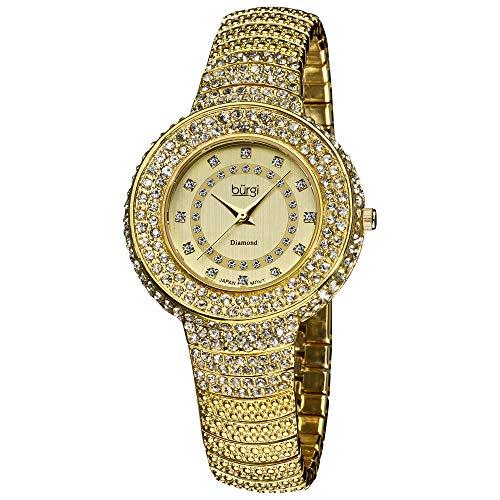 Burgi Diamond Accent Crystal Fashion Watch - Twelve Genuine Diamond Hour Markers On Three Rows Crystals on Bezel - - Watch Diamond Row