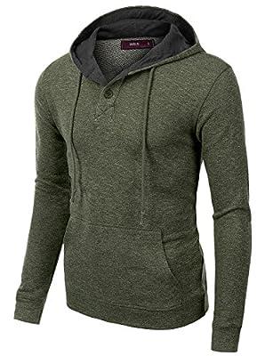 Doublju Mens Long Sleeve Pullover Fashion Hoodie