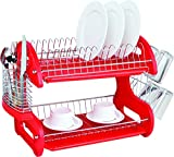 Home Kitchen Best Deals - Home Basics Dish Plastic Drainer, 2-Tier, Red