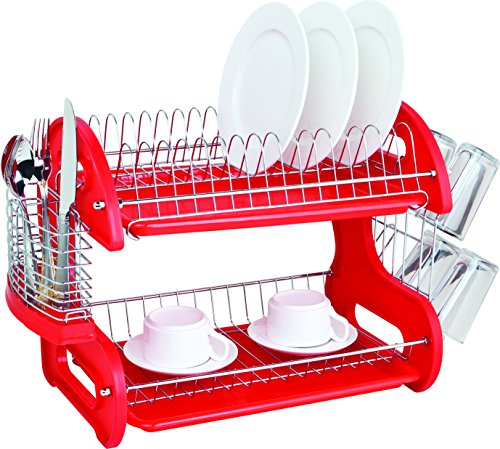 Home Basics DD10248 2-Tier Dish Plastic Drainer, 17.5in x 10.5in x 7in, Red (Rack Red Dish)