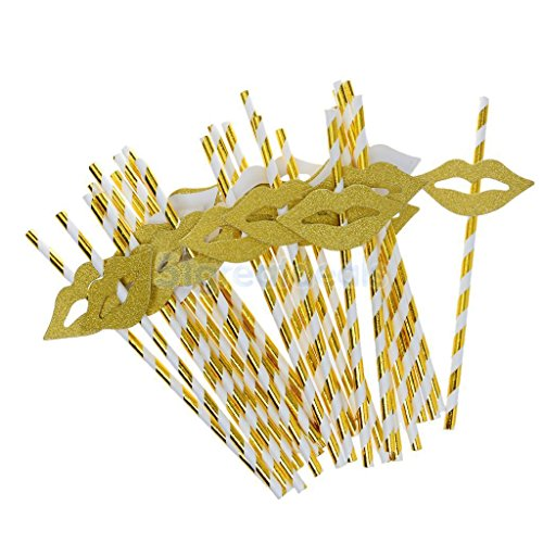 AMAZZANG-25Pcs Cute Golden Funny Beach Party Cocktail Juice Drinking Straws Party Décor (hot golden lips)