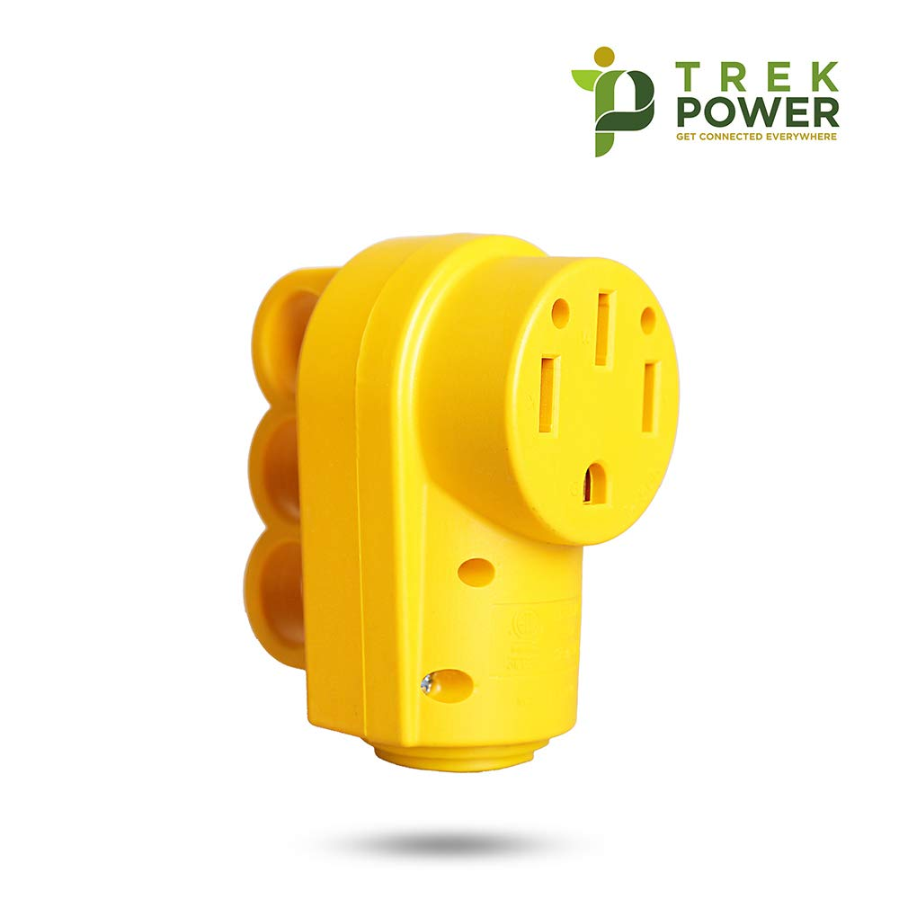 TREKPOWER RV Receptacle 50 AMP Power Plug (4-Prong Electrical Plug) Heavy Duty Adapter (with Grip Handle for Safer replacement) made by PVC and Copper,(14-50R),Yellow