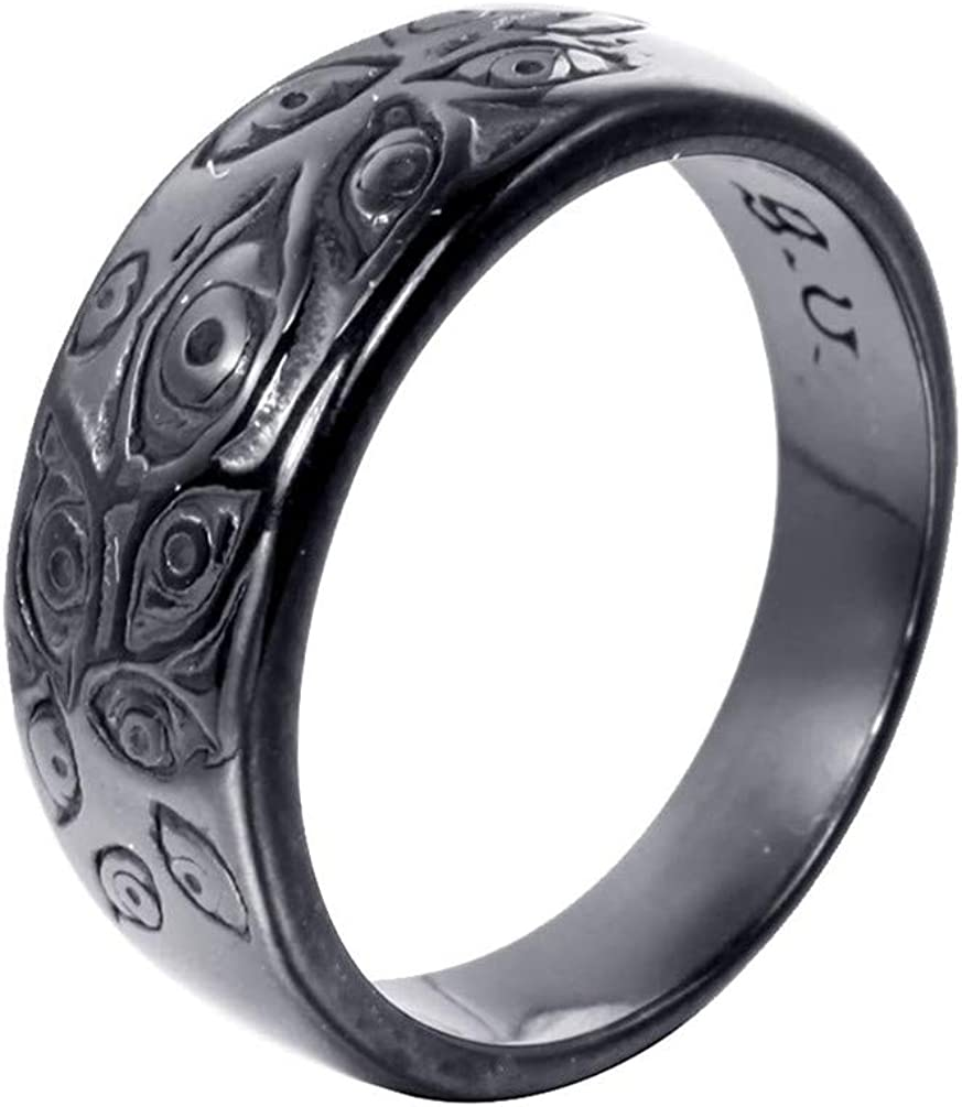PMTIER Men's Vintage Stainless Steel Engraved Eye of God Ring Silver Tone