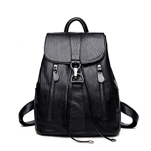 Leather Backpack New Fashion Female Backpack String Bags Large Capacity School Bag Black (Sierra Backpack Leather)
