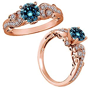 0.75 Carat Blue Diamond Solitaire Engagement Wedding Bridal Women Fancy Ring 14K Rose Gold
