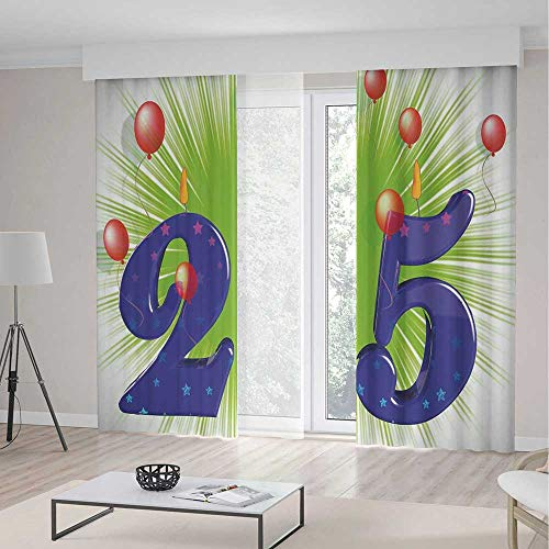 Decor Collection,25th Birthday Decorations for Living Room,Funky Vibrant Twenty Five with Stars Candle Balloons,70Wx98L Inches