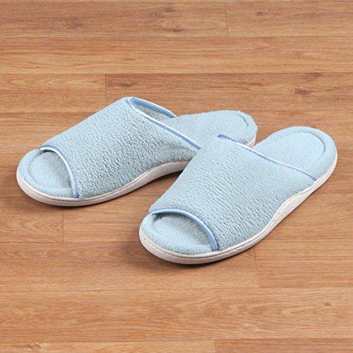Easy-comforts Badstof Slipper Met Open Teen, Lichtblauw
