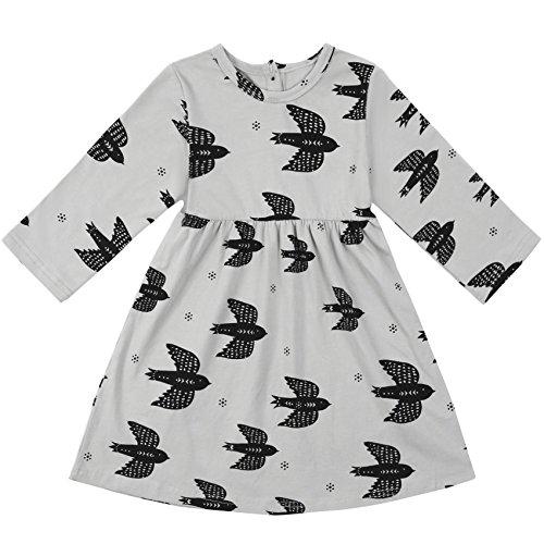 Ephex Little Girls' Cute Long Sleeve Animal Cotton Princess Tutu Dress (Animal Dress For Kids)