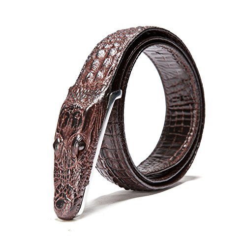 Men's Alligator Head Belt Crocodile Leather Embossed Strap Genuine Leather Belt - Crocodile Belt Strap