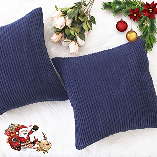HOME BRILLIANT Fall Decor Supersoft Striped Textured Velvet Corduroy Decorative Toss Throw Pillow Covers Pillowcase Cushion Cover for Chair, Navy Blue, 2 Packs, (45x45 cm, 18inch)