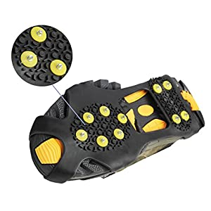 Ice Cleats, Willceal Ice Grippers Traction Cleats Shoes and Boots Rubber Snow Shoe Spikes Crampons with 10 Steel Studs Cleats Prevent Outdoor Activities from Wrestling (Extra 10 Studs)(Large)