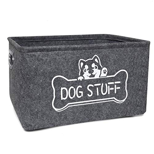 Vumdua Dog Toy Box, Dog Toy Storage Bin with Metal Handles – Collapsible Pet Supplies Storage Basket, Perfect for Organizing Pet Toys and Accessories