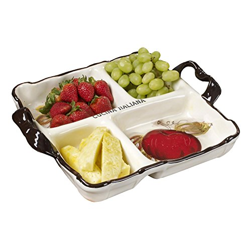 Glazed Ceramic Serving Platter (Cucina Italiana Ceramic Divided Serving Dish serving Platters and Trays 15 x 15 In, 4 Section)