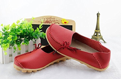 FAYALE Womens Handmade Loafers Flats Casual Oxford Shoes Red yOVeqEWikK