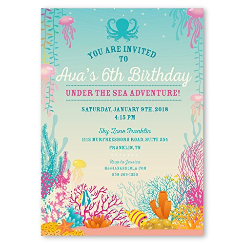 Image Unavailable Not Available For Color Customizable Under The Sea Ocean Theme Birthday Party Invitations