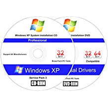 Windows XP Professional (SP3) Reinstall Install Disc - 2018 Universal Driver Install Disc - No Internet Needed - 2 Disc Installation Kit