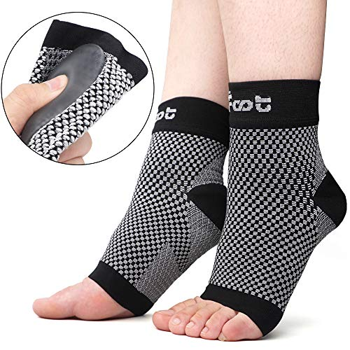 (Dr. Foot's Compression Arch Support Sleeves Socks with Comfort Gel Pads for Men & Women, Relief for Plantar Fasciitis, Flat Feet, Foot and Heel Pain (M - Men's 5-7.5 |)
