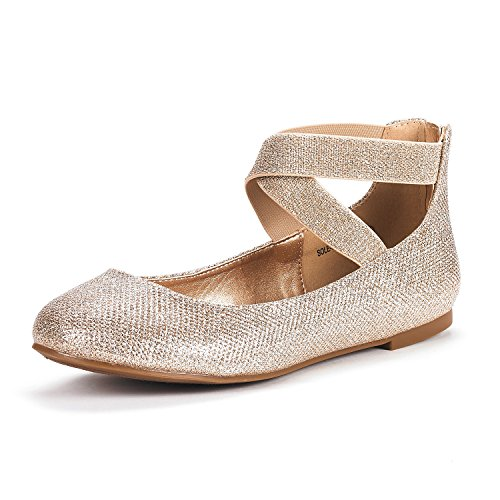 DREAM PAIRS Women's Sole_Stretchy Gold/Glitter Fashion Elastic Ankle Straps Flats Shoes Size 8 M US