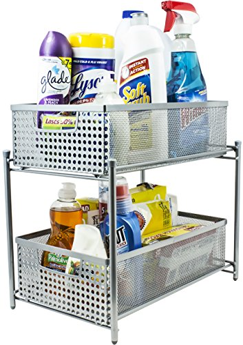 Sorbus 2 Tier Organizer Baskets with Mesh Sliding Drawers —Ideal Cabinet, Countertop, Pantry, Under the Sink, and Desktop Organizer for Bathroom,Kitchen, Office, etc.—Made of Steel (Silver)