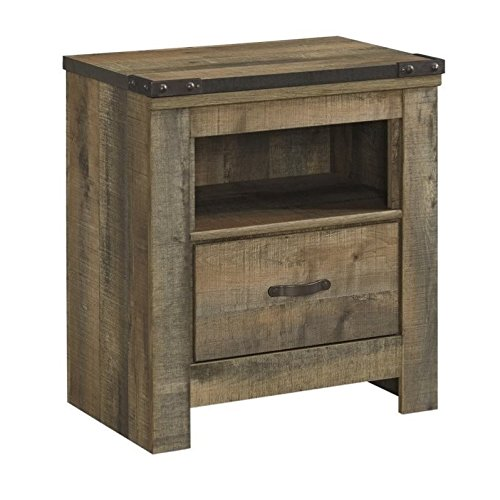 Ashley Furniture Signature Design - Trinell Warm Rustic Nightstand - Casual Master Bedroom End Table - Brown (Ashley Furniture Bedroom)