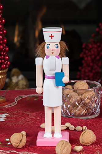 Traditional Wooden Nurse Nutcracker Decoration by Clever Creations   Wearing Classic White and Pink Nursing Outfit   Premium Festive Christmas Decor   10'' Tall Perfect for Shelves and Tables by Clever Creations (Image #3)
