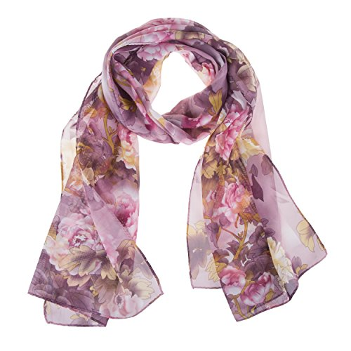 ChikaMika Lightweight Scarves for Women Chiffon Floral Wrap Shawls Fashion Purple Scarves (Chiffon Floral Wrap)