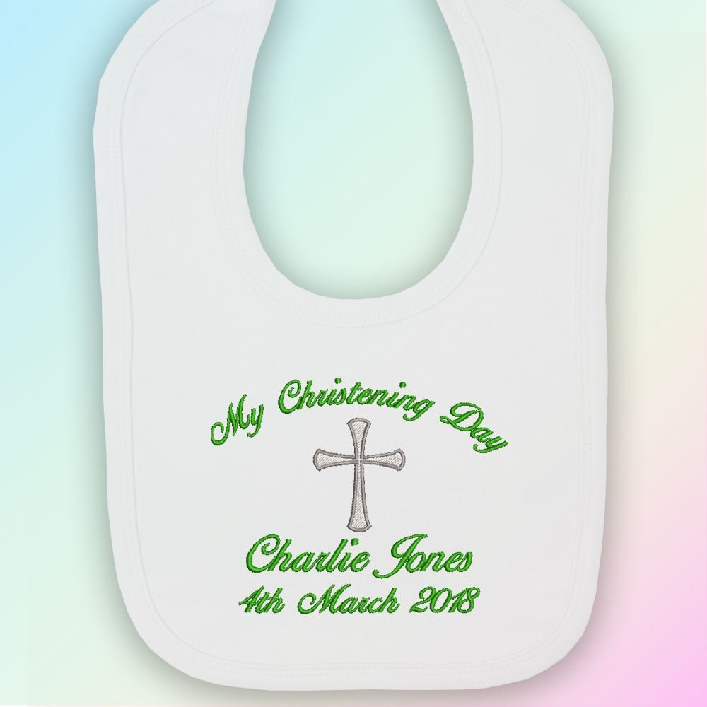 Light Grey Thread Bib in White Embroidered One Size My Christening Day