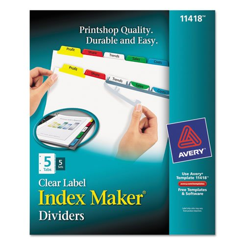 Avery - Index Maker Divider w/Multicolor Tabs, 5-Tab, Letter, 5 Sets/Pack 11418 (DMi PK (Printers Tab Inkjet 5)