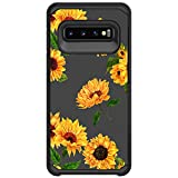 MINITURTLE Compatible with Samsung Galaxy S10 Plus, Samsung Galaxy S10+ G975U Dual Layer Hard Shell Hybrid Protective Case - Sunflowers