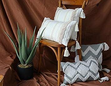Coton Black Wave 40,6 x 40,6 cm. Mocofo Housse de coussin tiss/ée /à franges Style boh/ème Blanc//gris 40,6 cm 40 x 40 Centimeters