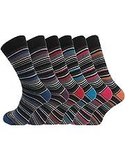 6 Pk Mens Pierre Calvini Luxury Stripe Cotton Rich Sock 6-11 UK, 6-11 UK, Multicoloured