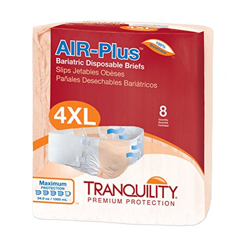Tranquility AIR-Plus Breathable Bariatric Disposable Briefs - 4XL - 8 ct